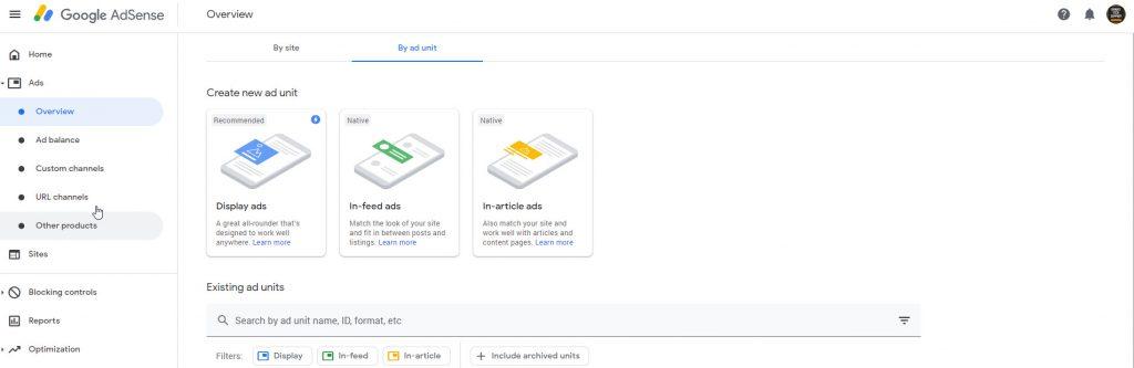 create ads in google adsense