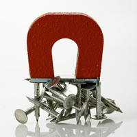 Magnet with nails.