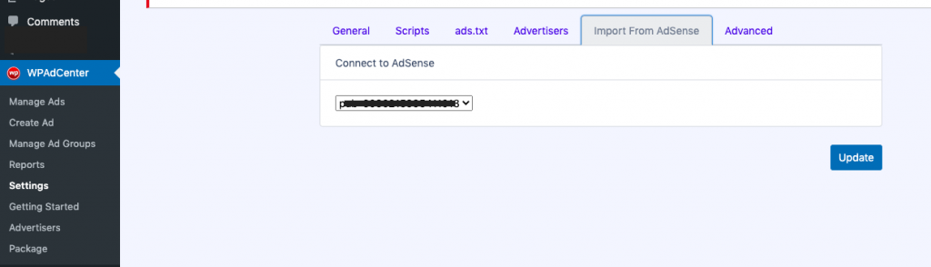 Import Google Adsense