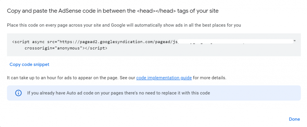 Adding Google AdSense Auto-Ads Code in WordPress