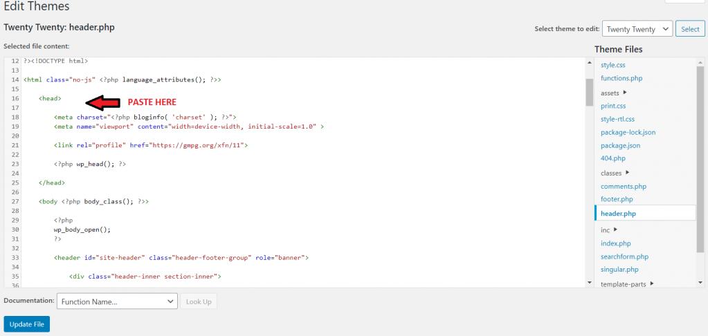 Manually add Google AdSense code to WordPress